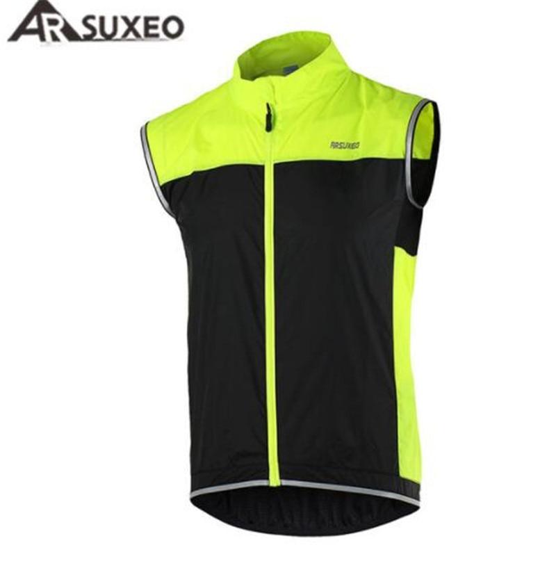 ARSUXEO Cycling Vest Jersey Windproof Waterproof MTB Bike Breathable Reflective Jacket Sleeveless