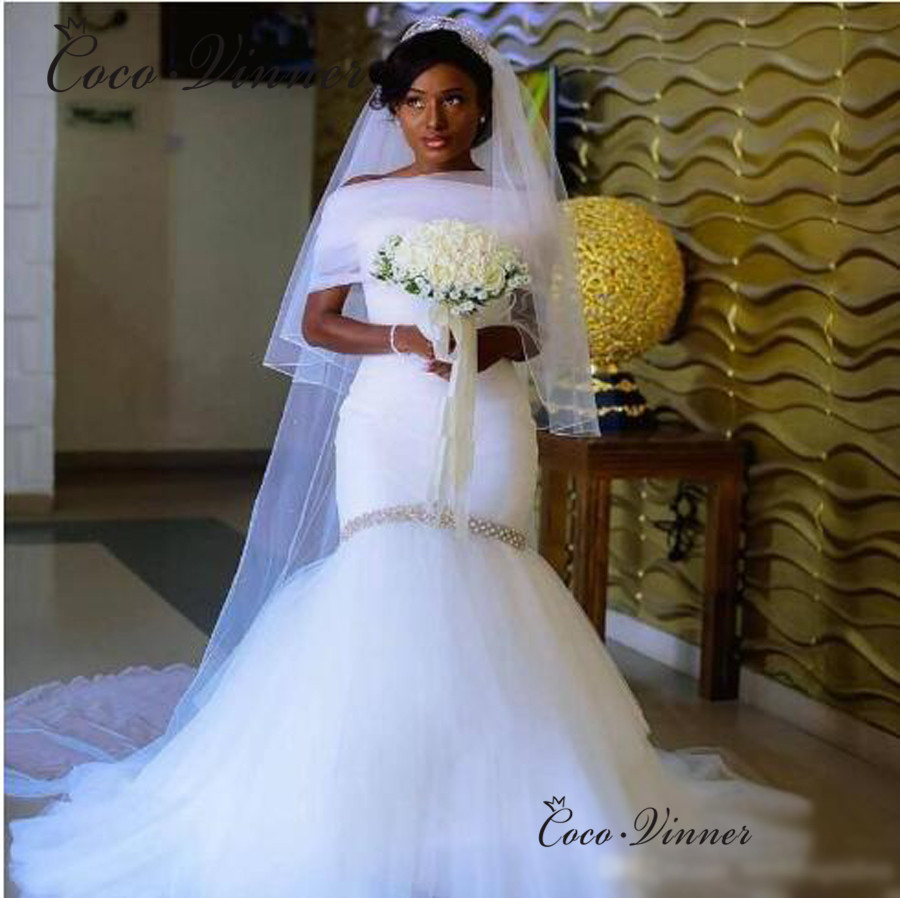 African Wedding Gown: Elegant Tulle Wedding Dress 2019 African New Cap Sleeve