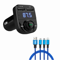 1set Bluetooth Handsfree 4.1A Dual USB Charger FM Transmitter & Music adapter with 1.3M Apple Micro Mini 3 in 1 USB cable