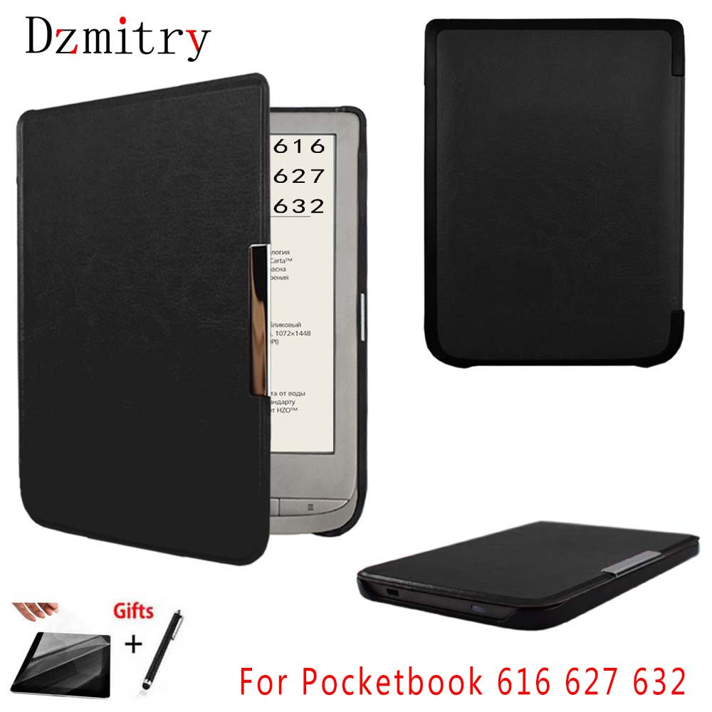 >Slim Magnetic cover for Pocketbook 616 627 632 funda PocketBook Touch Lux <font><b>4</b></font> <font><b>Basic</b></font> Lux 2 Touch HD 3 ebook eReader case +Film+pen