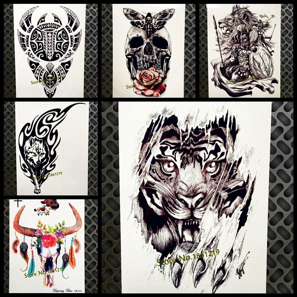 Tattoo & Body Art Sexy Men Women Tiger Lion Henna Temporary Tattoos Body Art Waterproof Fake Tatoos Transferable Full Arm Leg Flash Tattoo Sticker