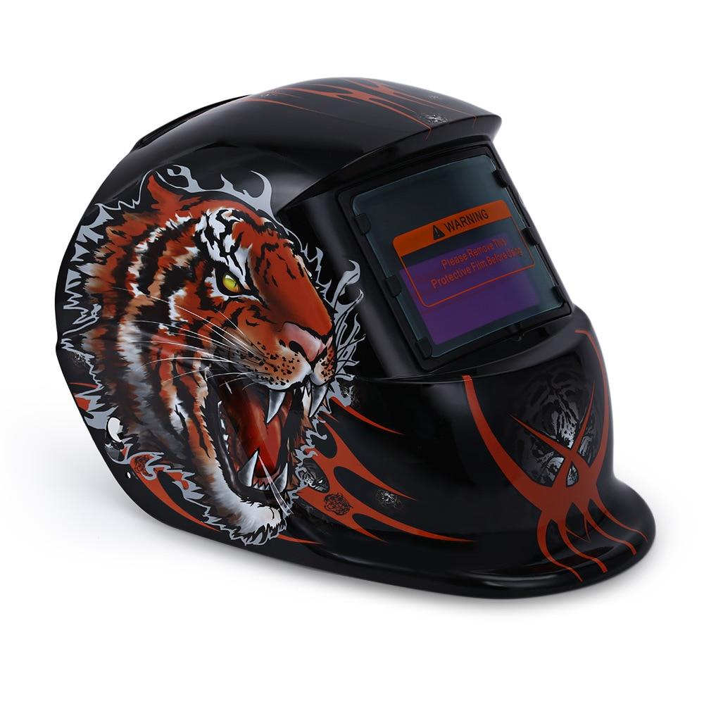 Tiger Pattern Solar Power Welding Helmet Mask Electrical MIG MMA Skull Mask Auto Darkening Protective Welding Mask/Helmet/Welder цена