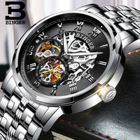 BINGER Transparent Watch Men Watches Top Brand Luxury Relogio Male Clock Men Casual Watch Montre Homme Mechanical Gold Skeleton