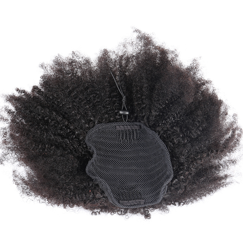 Afro Kinky Curly Ponytail Remy Hair Pieces For Women Natural Black Clip In Ponytails Drawstring 100% Human Hair