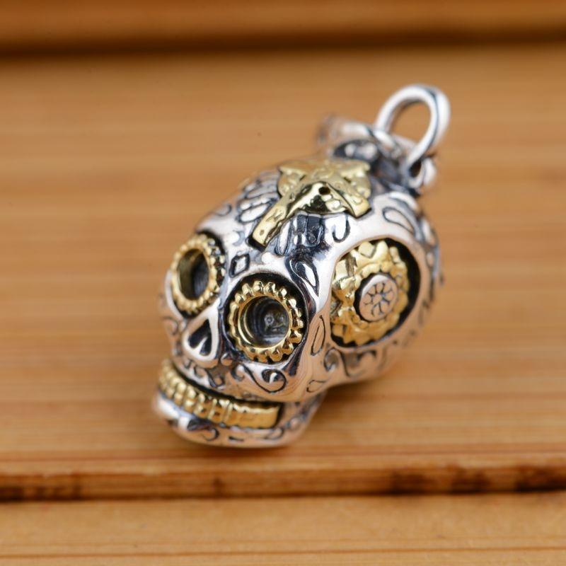 11mm x 2mm Jewel Tie Stainless Steel Skull Interchangeable Charm Pendant