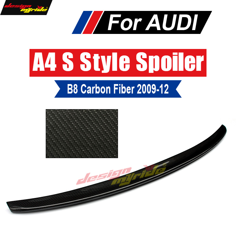 For Audi A4 B8 wing Rear Spoiler AES-Style Carbon fiber Glossy black A4a A4Q tail Wing Lip 2009-2012