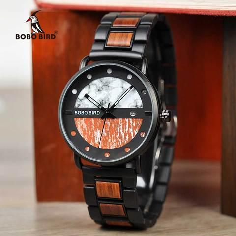Saat erkek Wooden Watches Men Wristwatch Quartz Clock BOBO BIRD Show date Gift in Wood Box in Wood Box Customize Logo Multan
