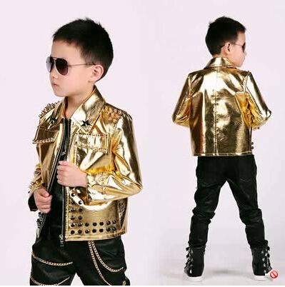 2015 Fashion Kids Baby Faux Leather Blazers Casual Gold