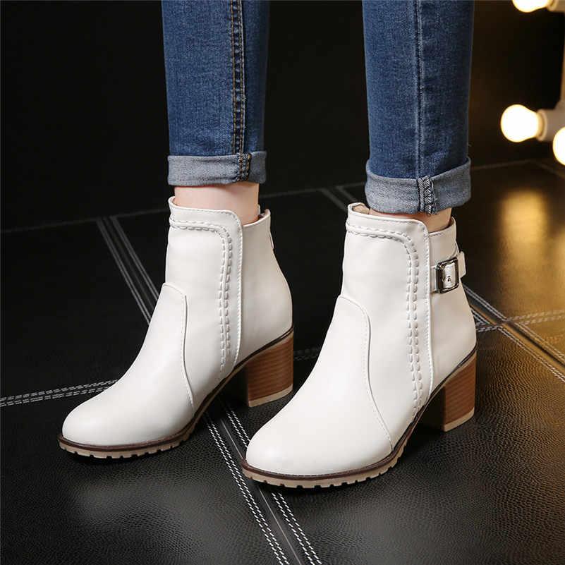 Artı Boyutu 34-43 Sonbahar kış Kar botları Kare yüksek topuklu Ayakkabılar Rahat Martin çizmeler kadın Moda fermuar deri yarım çizmeler