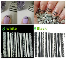 3D Manicure Nail Art Decal Sticker water decal Nail Tattoo Stickers,Black and white lace Nail Art Water Nail Art Decal Tools lcj 1pc nail stickers water decal animal flower plant pattern 3d manicure sticker nail art decoration