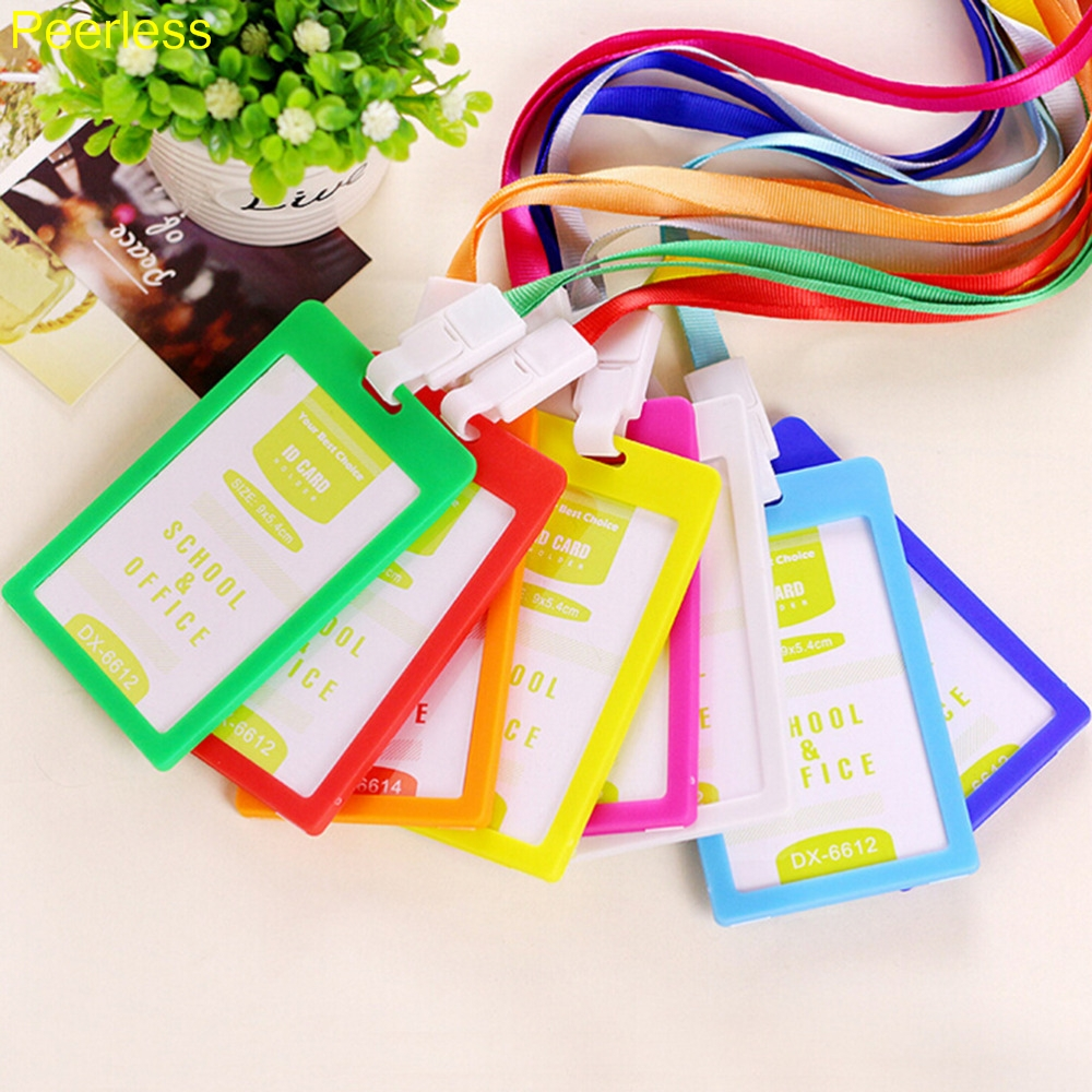 Labels, Indexes & Stamps Peerless Pvc Id Badge Holder Vertical Credit Card Bus Cards Case Papelaria Cute Stationery Supplies With Lanyard Badged Reel Products Hot Sale