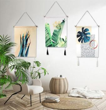 Green Plants Flamingo Cactus Tapestries Printed Calligraphy Flags Banners Hanging painting Home Decor Background wall decoration
