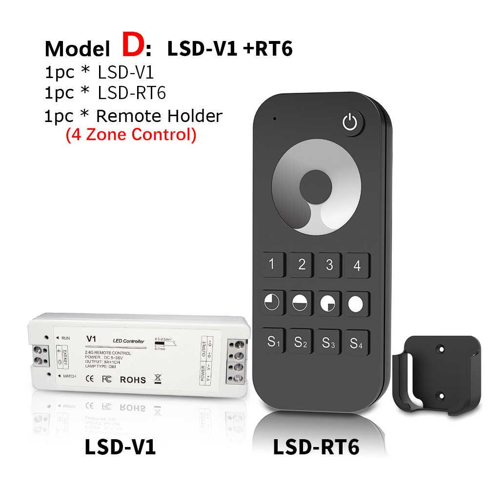 Lisxchda LED Dimmer 12V 5V 24V 36V 8A PWM Wireless RF LED Dimmer Switch ON OFF with 2.4G Remote for Single Color LED Strip Light
