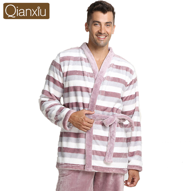 Qianxiu Brand Pajamas  Thicken Mink Wool Turn-down Collars Lounge Wear For Men and women Couples Nighewear
