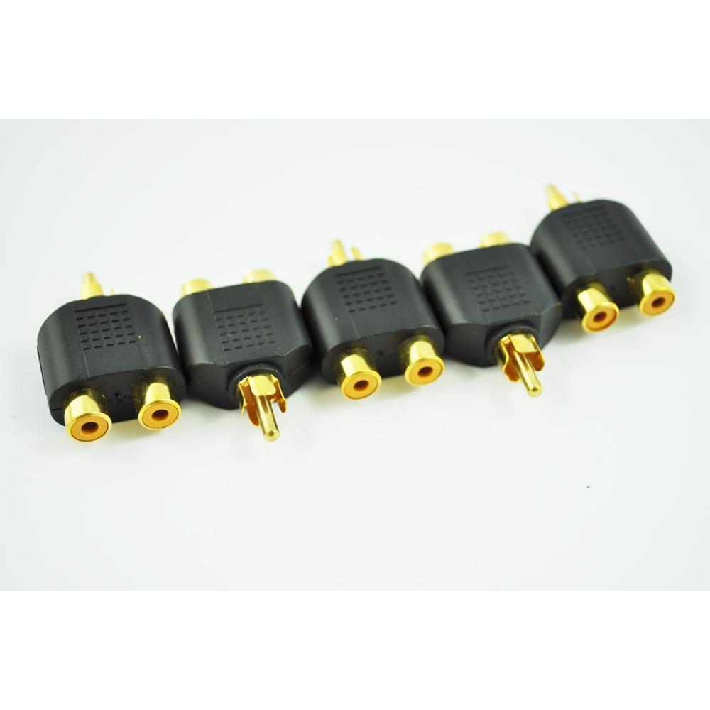 Promotion! 5 pcs RCA AV Audio Y Splitter Plug Adapter 1 Male to 2 Female 3 5mm male to 2 5mm female audio adapter black 5 pcs