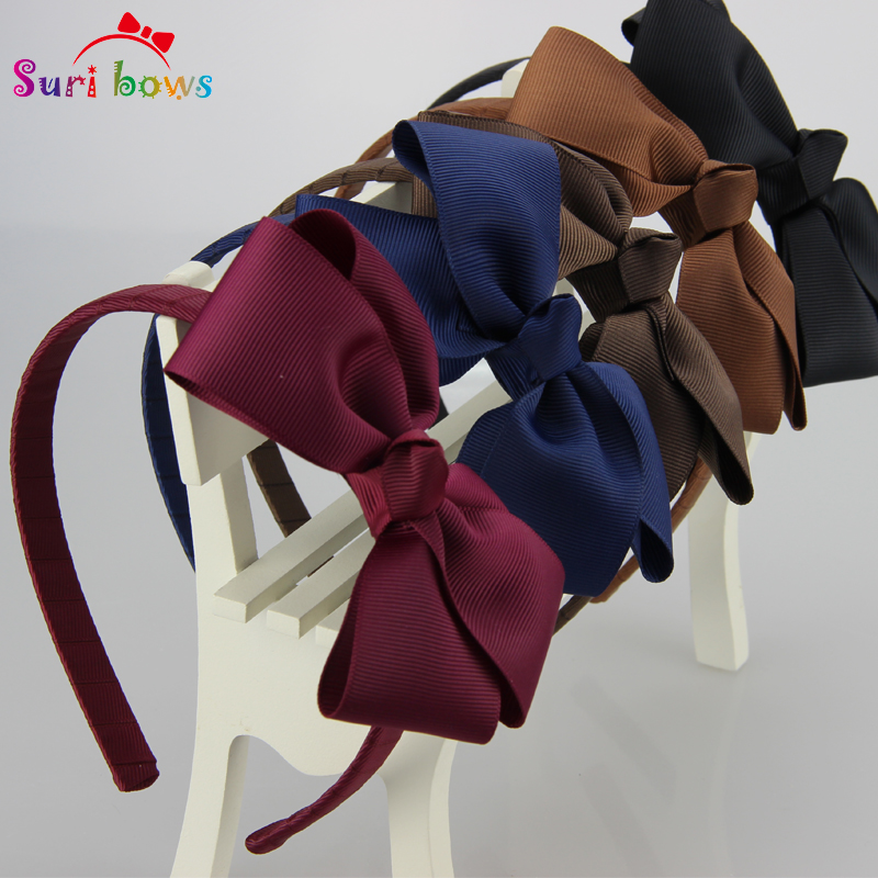 5 pcs/lot Suri bows 30 colors Lovely Girls Hairband Solid Ribbon Hairbow Hair Bands For Girl Ribbon Kids Hair Accessories FS011 10pcs lot high quality hair band with grosgrain ribbon flower for girls handmade flower hairbow hairband kids hair accessories