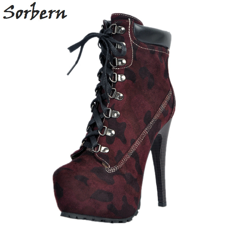 Sorbern Women Boots Lace Up Plus Size 34-48 Western Sexy Ladies Party Shoes Boots Women Ankle Boots For Women Punk