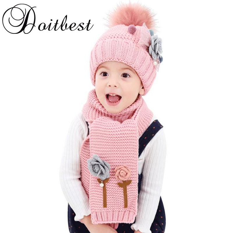 1dfefacf7bd49 2017 flower hailball beanies sets velvet wool kids boys Knit fur hats winter  2 pcs baby girl scarf hat set Age for 2-7 Years old