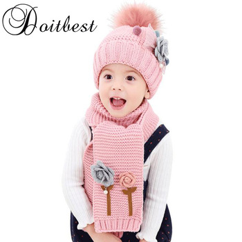 2017 flower hailball beanies sets velvet wool kids boys Knit fur hats winter 2 pcs baby girl scarf hat set Age for 2-7 Years old