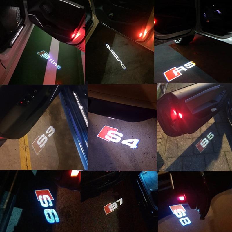 2x LED Lumière Bienvenue Ombre De Porte de Voiture Logo Projecteur de Lumière Pour Audi A3 A4 B5 B6 B7 B8 A1 A6 C6 Q5 Q7 A4L A5 A8 A8L A6L Q3 TT S6