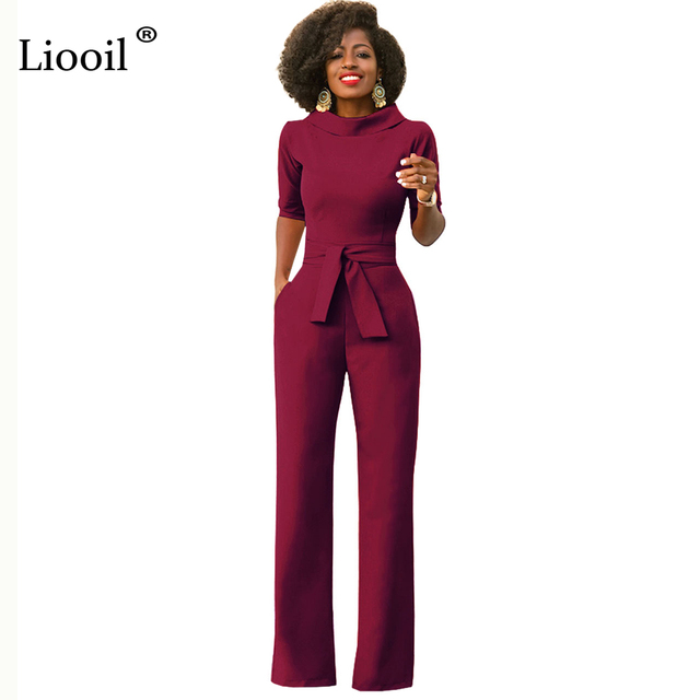 7d4c71a80774 Liooil Black White Blue Rompers Womens Jumpsuit Half Sleeve Turn-Down  Collar Sashes Wide Leg Pant African Office Ladies Overalls