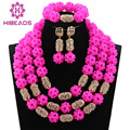 Fabulous Fuchsia Pink Crystal Balls Wedding Jewelry Set Hot Pink Bridal Indian Jewellery Necklace Set Gold Plated 2017 WE010