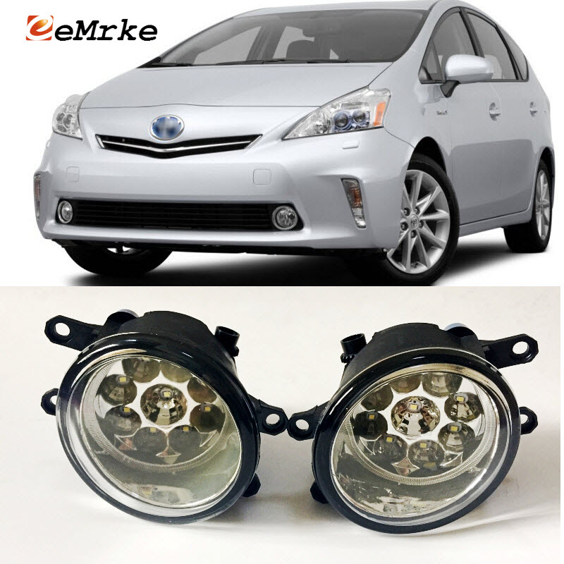 EEMRKE Car-Styling For Toyota Prius V 2012 2013 2014 9-Pieces Led Halogen Fog Lights 12V 55W Fog Head Lamp fog light set 12v 55w car fog lights lamp for toyota hiace 2014 on clear lens wiring kit free shipping