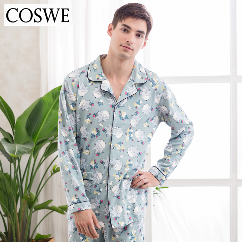 COSWE New Men Autumn Pajama Sets 100 Cotton Long Sleeved Pajamas Set Mens Casual Homme Pijamas