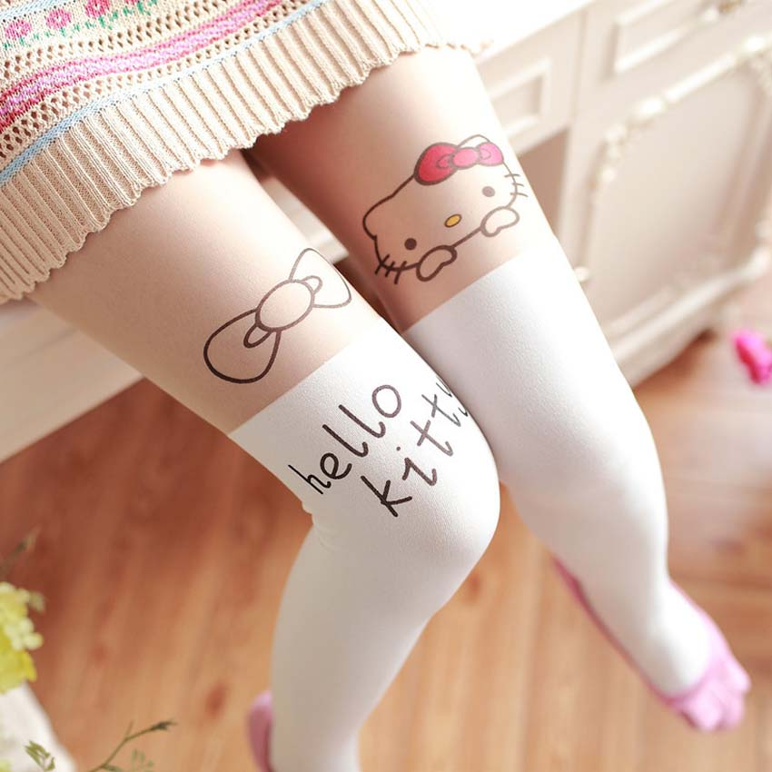 8a8cb96df2b Free Shopping Spring Children Baby Kids Girls Baby Cute Hello Kitty Knee  Lovely Tattoo Tights Pantyhose Girls Cute for Tights-in Tights   Stockings  from ...