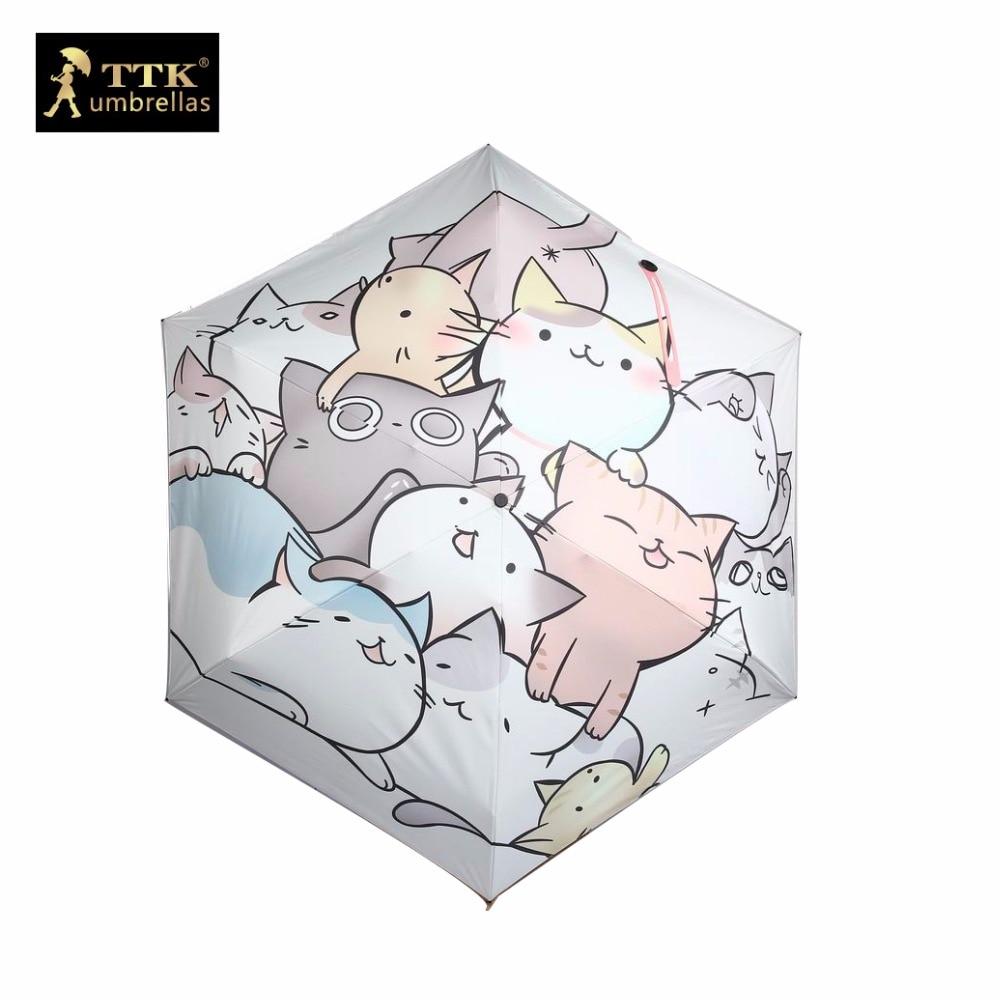 고양이 우산 여성 미니 태양 5 배 우산 선물 상자 블랙 TTK 비가 uv 만화 우산 작은 파라솔 여자 어린이 우산