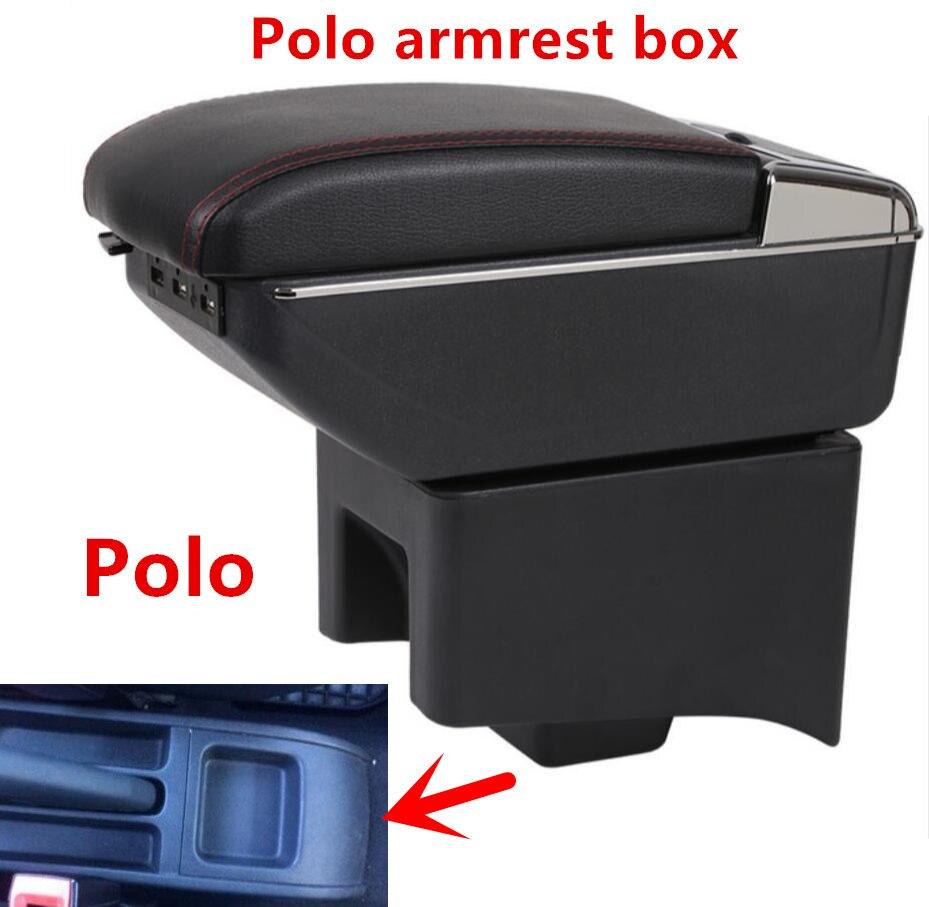 폭스 바겐 폴로 암 레스트 박스 폴로 V 유니버설 2009-2020 자동차 센터 콘솔 수정 액세서리 더블 USB 제기