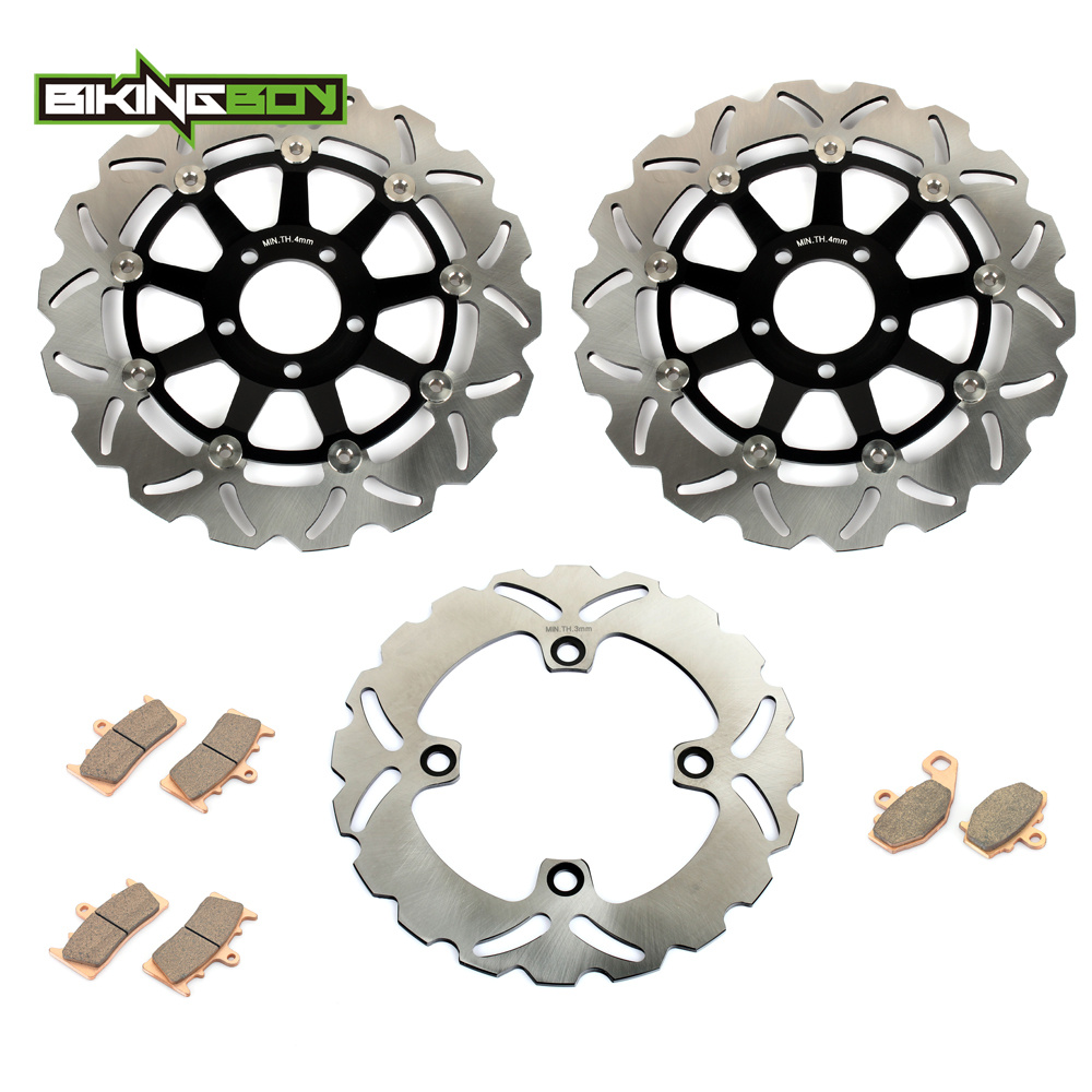 BIKINGBOY Motorcycle Front Rear Brake Disk Disc Rotor Pad for Kawasaki ZX6R NINJA ZX-6R ZX636 ZX 6R 9R ZX9R ZX-9R 98-02 01 00 99 wotefusi 1 piece motorcycle front brake rotor disc for kawasaki ninja 250 2013 2015 2014 [pa196]