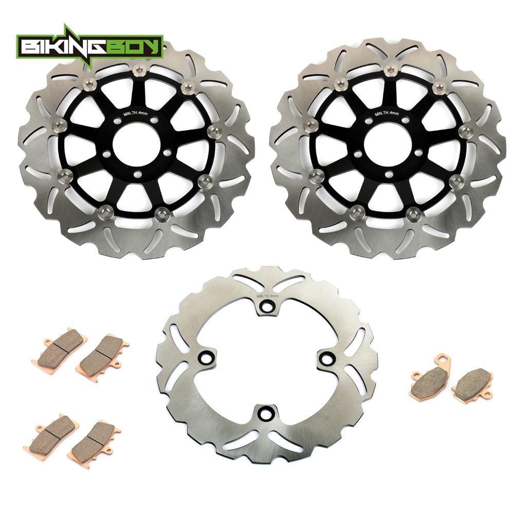 BIKINGBOY Motorcycle Front Rear Brake Disk Disc Rotor Pad for Kawasaki ZX6R ZX-6R ZX636 NINJA ZX9R ZX-9R ZX 6R 9R 98 99 00 01 02