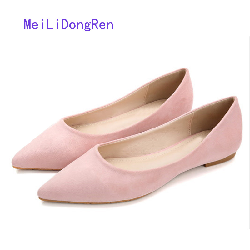 Candy Color Flock Women Flats Simple Pointed Toe Flat Shoes Shallow Mouth Soft Bottom Single Shoes Work Casual Shoes Size 31-41 lin king fashion pearl pointed toe women flats shoes new arrive flock casual ladies shoes comfortable shallow mouth single shoes