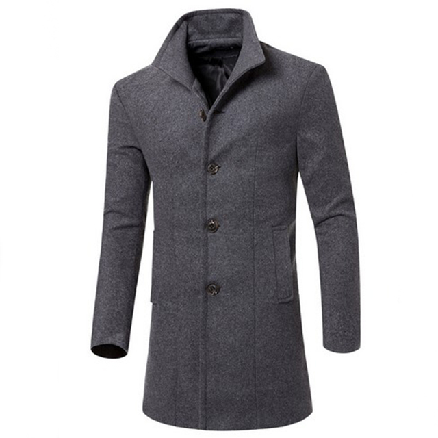 Autumn winter mens coat wool coat medium and long section coats men's jacket wool blends single-breasted wool trench casual men