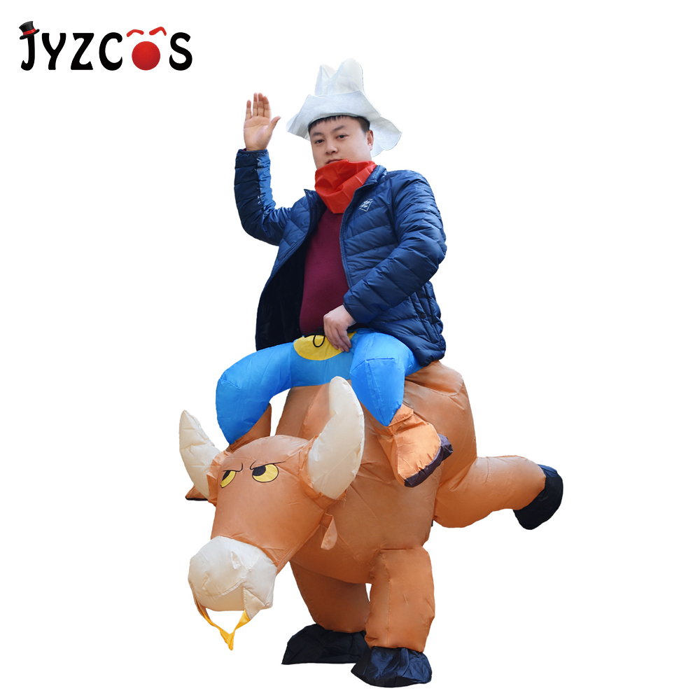 JYZCOS Hot Sell Unisex Purim Halloween Carnival Cosplay Dress Inflatable Cowboy Costume Bull Rider Outfits for Women Men Adults