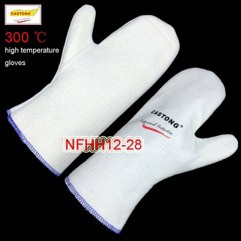 CASTONG 300 degree High temperature gloves No finger Aramid fire gloves kitchen oven Microwave oven Anti-scald safety gloves 250 degrees heat insulation gloves high temperature resistant gloves to hot flame retardant anti scald fire aramid fiber woven