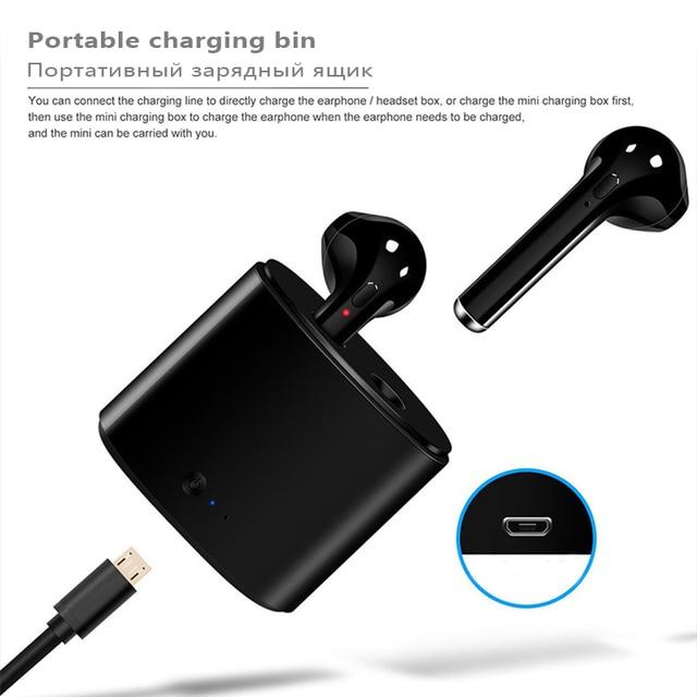 2 Pcs i7s TWS Mini Headphone Wireless Bluetooth Earphone Stereo Music Headset With Charge Box For Smart phone not Airpod i10 i13 3