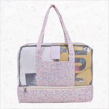 SHUSHIRUO Fargerikt Grid Beach Bag Vanntett Nylon Dry Wet Separation Beach Duffle Bag Klær Makeup Storage Organizer Handbag