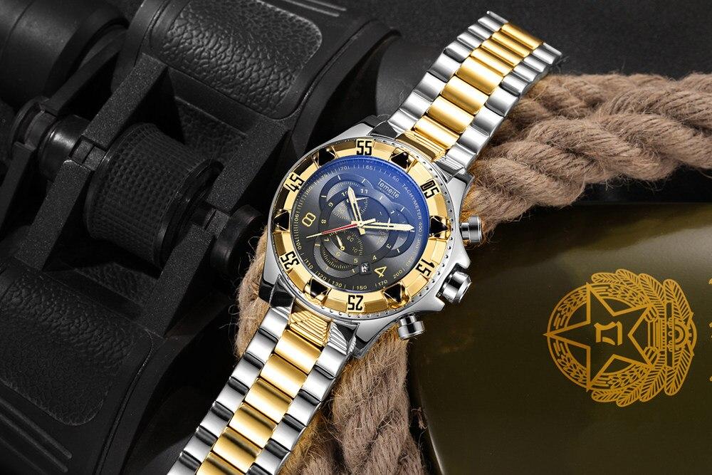 19 Top Brand Luxury Mens Oversize Watch Gold Business Steel Quartz Clock Waterproof Sport Military Chronograph Male Wristwatch 31