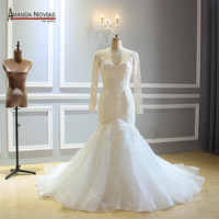Long Sleeves Mermaid Ivory Wedding Dress With Full Beading 2019