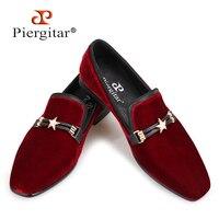Piergitar/осень Стиль Роскошный бордовый цвета Мужская бархатная обувь с жемчугом металлической пряжкой, праздничная и Свадебная обувь мужские