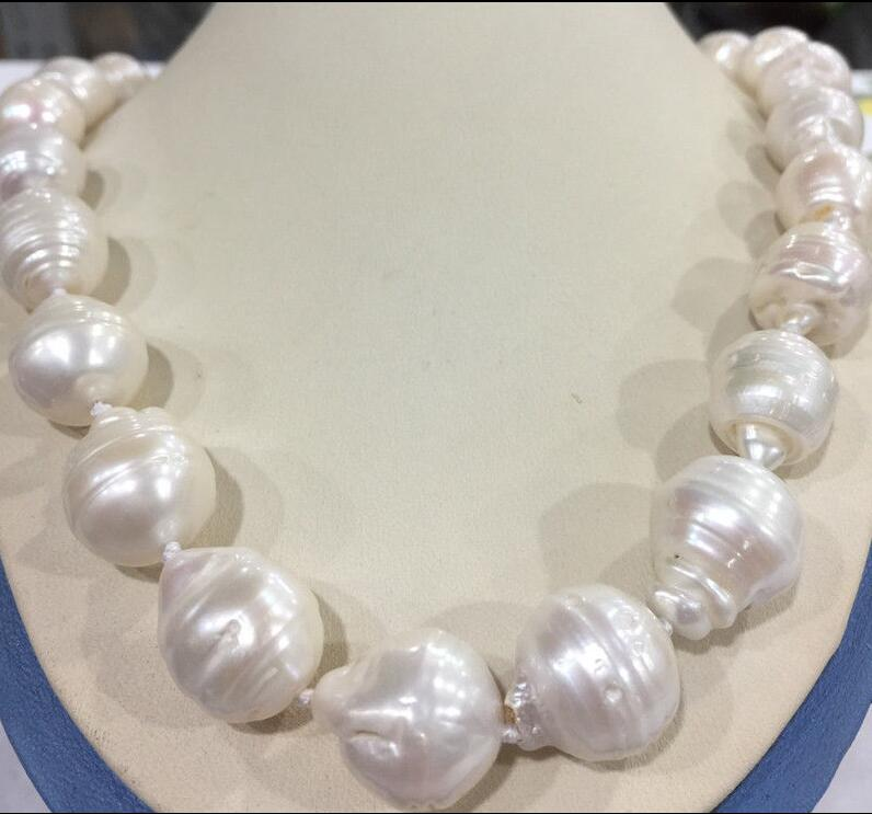 free shipping Large 15-23mm White Unusual Baroque Pearl Necklace disc Clasp