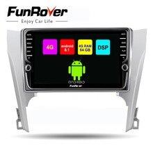 Funrover 2 din Автомобильный мультимедийный плеер android 8,1 dvd gps навигация для Toyota camry 2012-2014 стерео радио 4 г + 64 г wifi DSP RDS