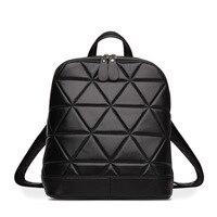 MUPO Brand Luxury Women Sheepskin Genuine Leather Rhombus Pattern Backbag School Bag Fashion Girl Backpacks 2016