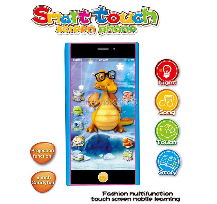 NEW Toy Phone English Learning Machine, Children Yphone Smart touch scteen toy phone, Baby educational toys with Projection