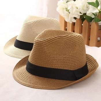 Los hombres de moda fedora sombreros de paja para las mujeres hombre  holiday beach sol de verano sombrero unisex trilby Caps Sombreros de lino  Hombre Verano ... dcc5f386d88