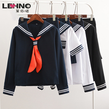 HOT SALES Japanese School Uniforms Girl Fashion Sailor Cosplay Navy Salor Uniform With Red Scarf JK