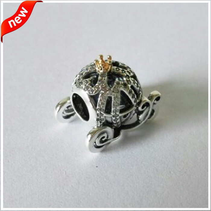 Fits For Pandora Braclets Pumpkin Charms with 14K Real Gold 100% 925 Sterling Silver Beads Free Shipping цены