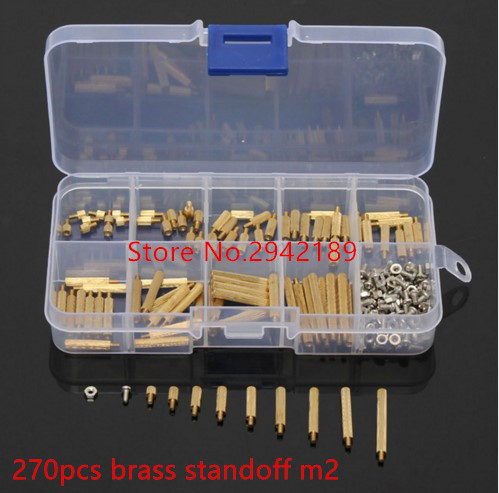 270pcs/Set Brass M2 3-25mm Male to Female Brass Standoff Screw Nut Assortment Kit Set 230pcs m2 5 2 5mm brass standoff spacer male x female with m2 5 6 pan head screws and m2 5 hex nut assortment kit